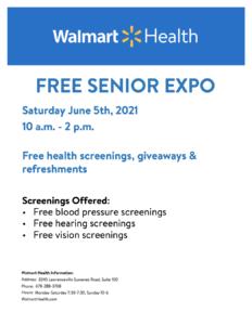 Walmart Health FREE Senior Expo Flyer
