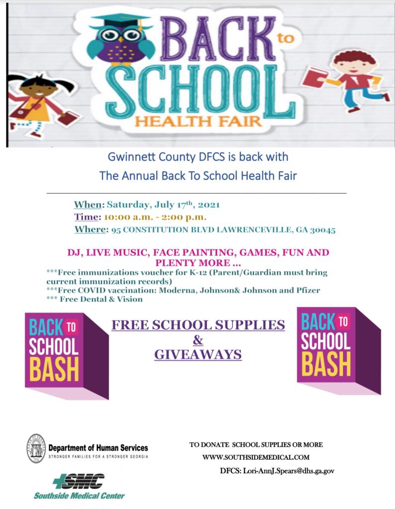Gwinnett County DFCS Back to School Health Fair Flyer